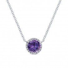 Gabriel 14K White Gold Lusso Color Amethyst Necklace NK4616W45AM - NK4616W45AM