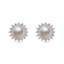 14k White Gold Gabriel & Co. Diamond Pearl Stud Earrings - EG395W45PL