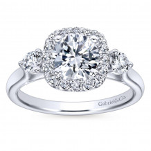 Gabriel & Co 14k White Gold Round 3 Stones halo Engagement Ring - ER7510W44JJ