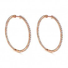 14k Rose Gold Gabriel & Co. Diamond Hoop Earrings - EG11279K45JJ