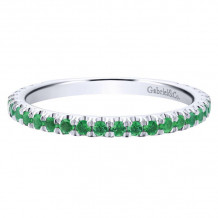 Gabriel & Co. 14k White Gold Emerald Stackable Diamond Ring - LR50889W4JEA