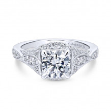 Gabriel & Co 14k White Gold Windsor Diamond Engagement Ring - ER12580R4W44JJ