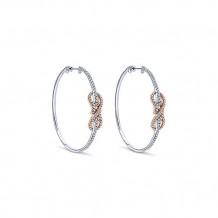 14k White & Rose Gold Gabriel & Co. Diamond Intricate Hoop Earrings - EG12590T45JJ