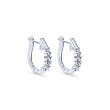 14k White Gold Gabriel & Co. Diamond Huggie Earrings - EG455W45JJ