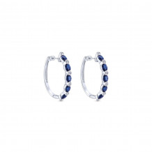 14k White Gold Gabriel & Co. Blue Sapphire Diamond Earrings - EG10033W44SB