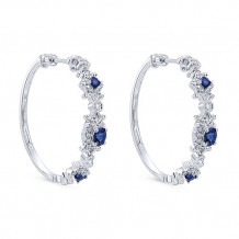 14k White Gold Gabriel & Co. Blue Sapphire Diamond Hoop Earrings - EG12293W44SA