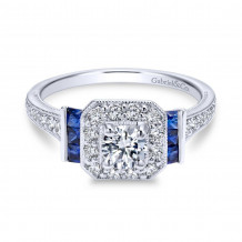 Gabriel & Co. 14k White Gold Round Halo Diamond & Sapphire Engagement Ring - ER11932R0W44SA