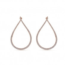 14k Rose Gold Gabriel & Co. Intricate Diamond Hoop Earrings - EG12903K45JJJ