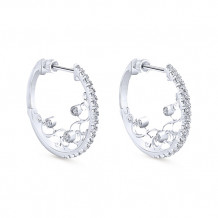 14k White Gold Gabriel & Co. Diamond Hoop Earrings - EG12077W45JJ