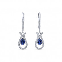 14k White Gold Gabriel & Co. Blue Sapphire Diamond Drop Earrings - EG10120W45SB