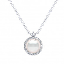 Gabriel 14K White Gold Grace Pearl Necklace NK5619W45PL - NK5619W45PL