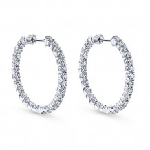 14k White Gold Gabriel & Co. Diamond Hoop Earrings - EG10274W45JJ
