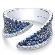 14k White Gold Gabriel & Co. Diamond And Sapphire Wide Band - LR51132W45SA