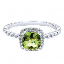 14k White Gold Gabriel & Co. Diamond Peridot Stackable Ring - LR50890W45PE