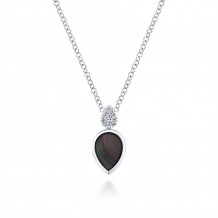 Gabriel 14K White Gold Trends Black Mother Of Pearl Necklace NK5712W45BM - NK5712W45BM