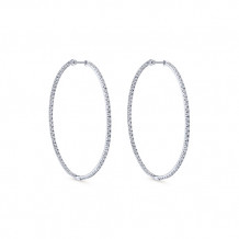 14k White Gold Gabriel & Co. Diamond Hoop Earrings - EG699W45JJ