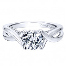 Gabriel & Co. 14k White Gold Criss Cross Diamond Engagement Ring - ER12604R4W44JJ