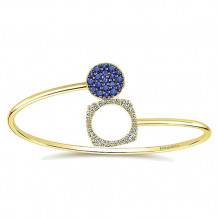 14k Yellow Gold Gabriel & Co. Diamond And Sapphire Bangle Bracelet - BG4004Y45SA