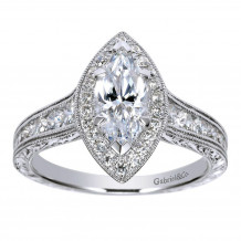 Gabriel & Co Halo Semi Mount Engagement Ring - ER8812W44JJ