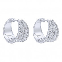 14k White Gold Gabriel & Co. Diamond Huggie Earrings - EG12295W44JJ