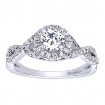 Gabriel & Co 14k White Gold Round Halo Engagement Ring - ER9512W44JJ