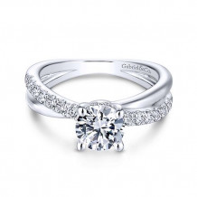 Gabriel & Co. 14k White Gold Criss Cross Diamond Engagement Ring - ER13880R4W44JJ