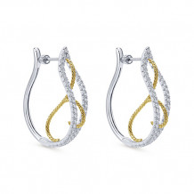 14k Two Tone Gold Gabriel & Co. Diamond Hoop Earrings - EG12094M45JJ