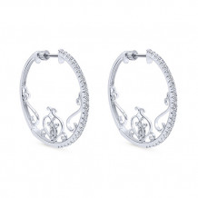 14k White Gold Gabriel & Co. Diamond Hoop Earrings - EG12058W45JJ