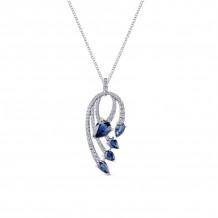 Gabriel 14K White Gold Lusso Color Blue Sapphire Necklace NK5338W45SA - NK5338W45SA