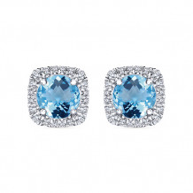 14k White Gold Gabriel & Co. Diamond Blue Topaz Stud Earrings - EG13219W45BT