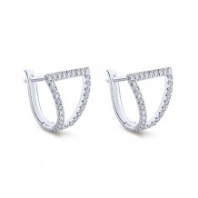 14k White Gold Gabriel & Co. Diamond Huggie Earrings - EG13217W45JJ