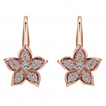 14k Rose Gold Gabriel & Co. Diamond Floral Drop Earrings - EG12598K45JJJ