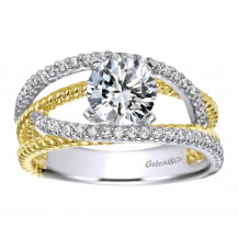 Gabriel & Co 14k Two Tone Gold Round Free Form Engagement Ring - ER5363M44JJ