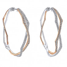 14k White and Rose Gold Gabriel & Co. Intricate Diamond Hoop Earrings - EG12898T45JJJ