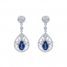14k White Gold Gabriel & Co. Blue Sapphire Diamond Drop Earrings - EG9474W45SB
