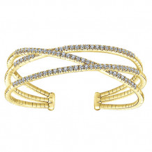 14k Yellow Gold Gabriel & Co. Diamond 3 Row Criss Cross Bangle Bracelet - BG3982Y45JJJ