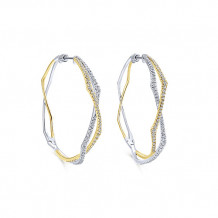 14k Two Tone Gold Gabriel & Co. Diamond Hoop Earrings - EG12898M45JJ