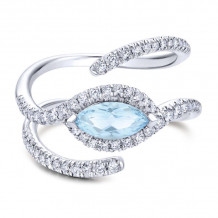 14k White Gold Gabriel & Co. Diamond and Blue Topaz Fashion Ring - LR50625W45LBJ