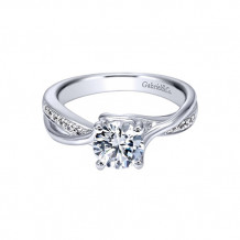 Gabriel & Co 14k White Gold Round Criss Cross Semi Mount Twisted Engagement Ring - ER10013W44JJ