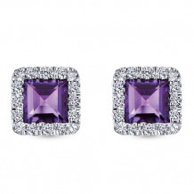 14k White Gold Gabriel & Co. Diamond Amethyst Stud Earrings - EG9285W44AM