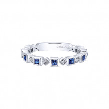 Gabriel & Co. 14k White Gold Diamond and Blue Sapphire Stackable Ring - LR4912W44SA