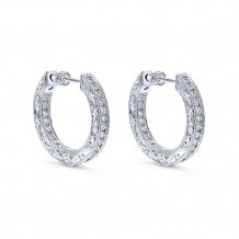 14k White Gold Gabriel & Co. Diamond Hoop Earrings - EG10480W44JJ