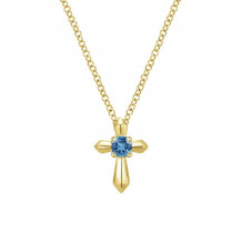 Gabriel & Co. 14K Yellow Gold Secret Garden Blue Topaz Necklace NK1696Y4JBT - NK1696Y4JBT